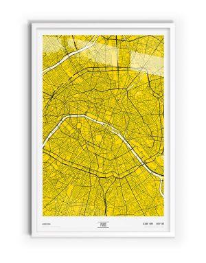 Sulphur Coloured Map of Paris with white frame